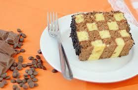 Receita de bolo xadrez quadrado delicioso