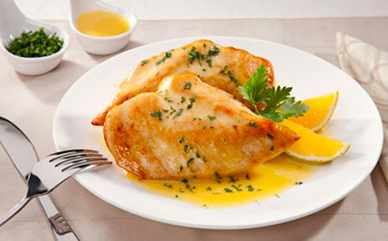 frango assado com suco de laranja