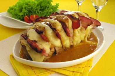 Receita de lagarto recheado com queijo e bacon