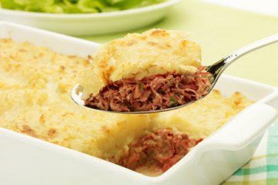 Delicioso escondidinho de carne louca com batata