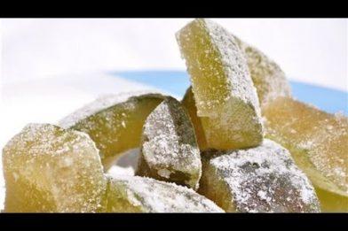 Doce de mamão verde cristalizado com bicarbonato caseiro