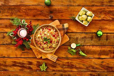 Refrescante salada de cuscuz marroquino com lentilha