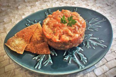 Delicioso prato chileno com salmão