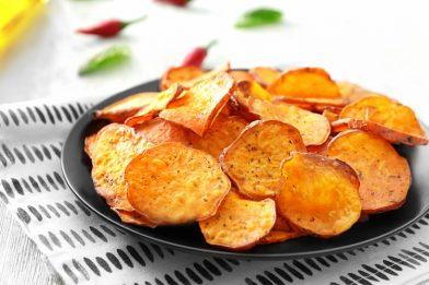 Receita deliciosa de batata doce chips
